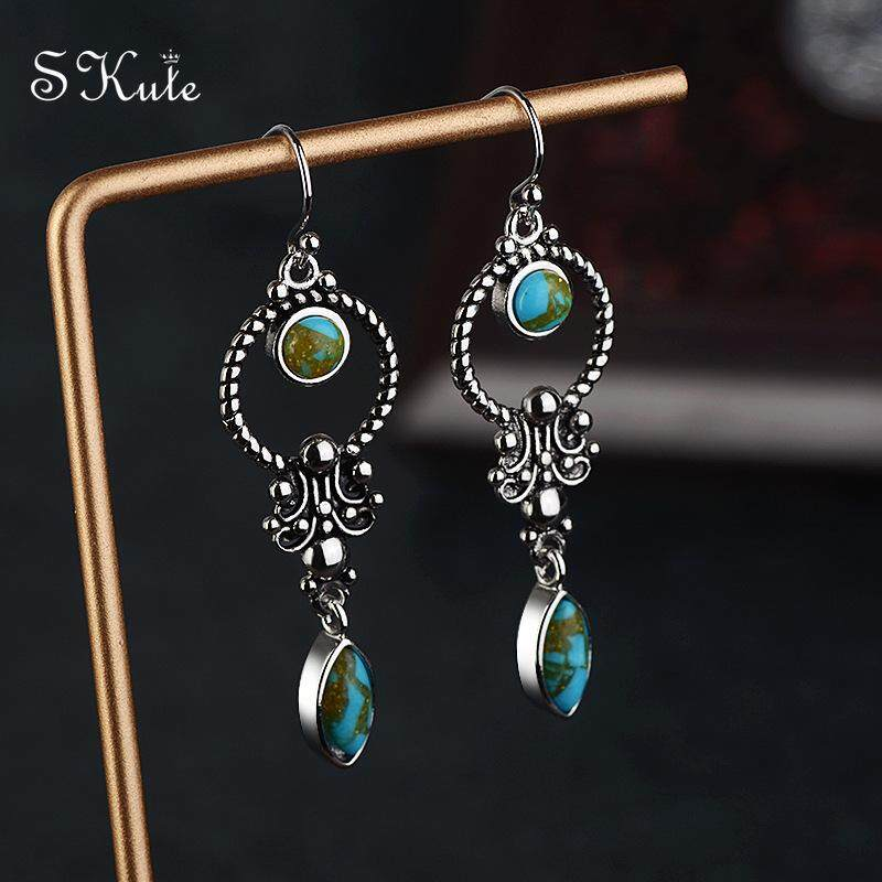 ❤skute Turquoise Cute Circle Earrings S925 Silver Hoop Earring Stud Bohemian Indian Carved Jewellery,1 Pair By Skute Official Store.
