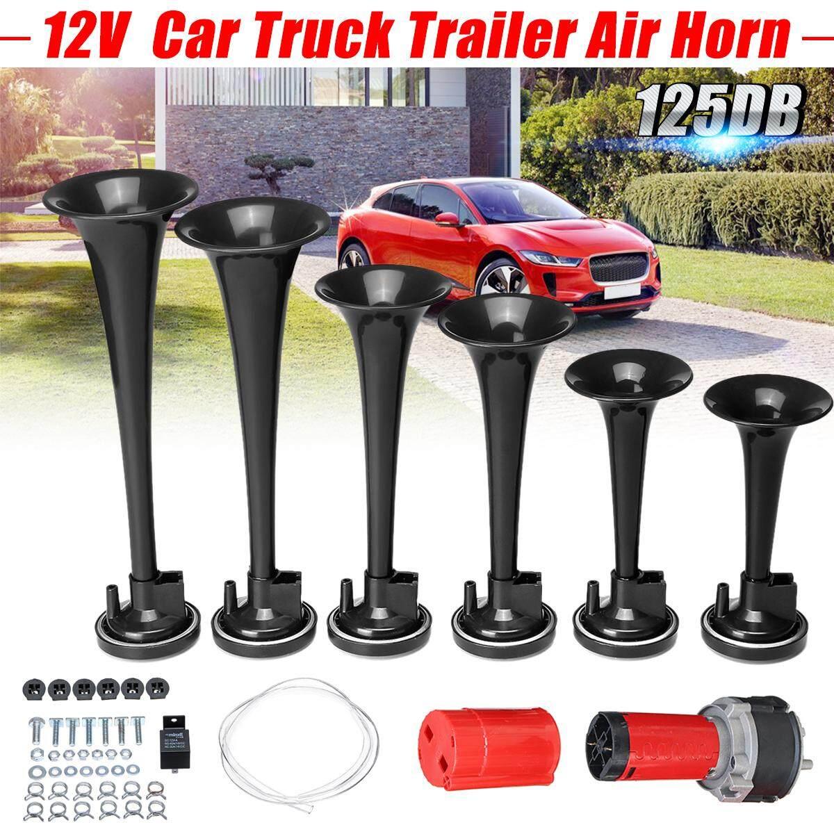 【Free Pengiriman + Flash Deal】125db 6 Terompet Trailer Mobil Truk Bel Udara Kit Keras Musik Suara 12 V Hitam
