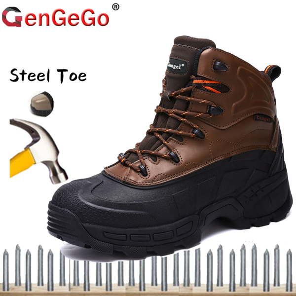 Brand GenGeGo 2020 Labor Protection Shoes, Military Boots, MenS Safety Boots, Real Leather Steel Toe Boots, Puncture-Resistant Work Boots