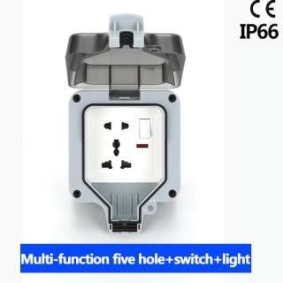 Ổ Cắm Điện Kèm Công Tắc Đèn Chống Nước Chuẩn IP66 Nguồn 16a Nối Đất Chịu Được Thời Tiết Dùng Ngoài Trời thumbnail