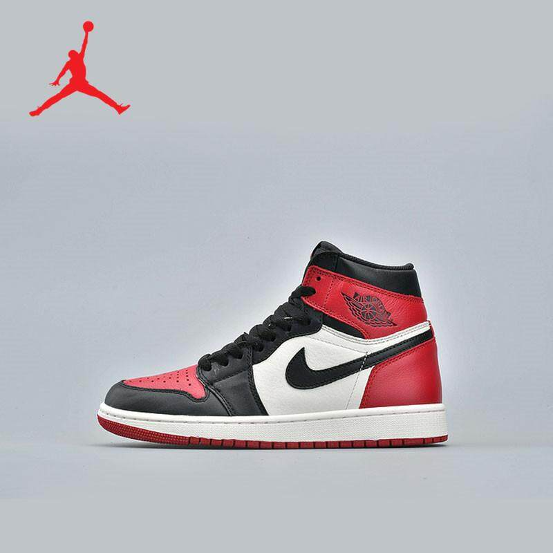 free shipping 8057a 8781d Nike Air Jordan 1 AJ1 Bred Toe Joe 1 black red toe shoes for men and women  high-top casual canvas shoes 555088-610