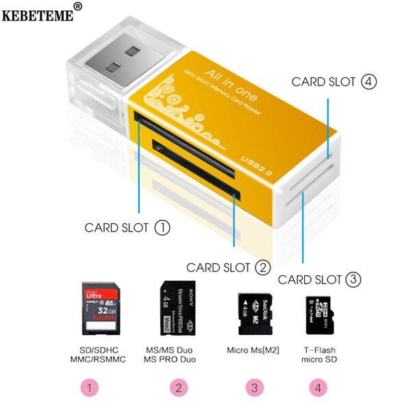 KEBETEME Đầu Đọc Thẻ USB 2.0 Cho Thẻ TF, Đầu Đọc Thẻ Nhớ Đa Năng Tất Cả Trong 1 Đối Với Máy Tính PC