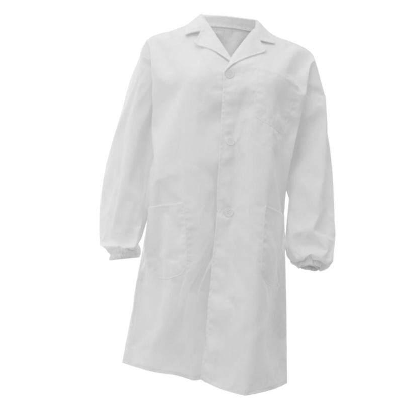 Fenteer Unisex Long Sleeve White Scrubs Lab Coat Medical Doctor Uniform