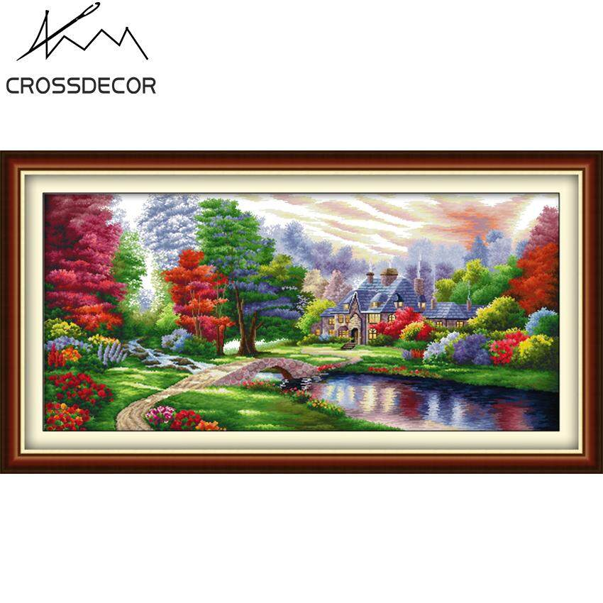 Hot Sale The Ambilight Ideal Home Cabin Precise Stamped Cross-Stitch Complete Set DIY Handmade Embroidery Needlework 14CT Pre-Printed On the Cloth Home Room Decor DMC Complete Kits