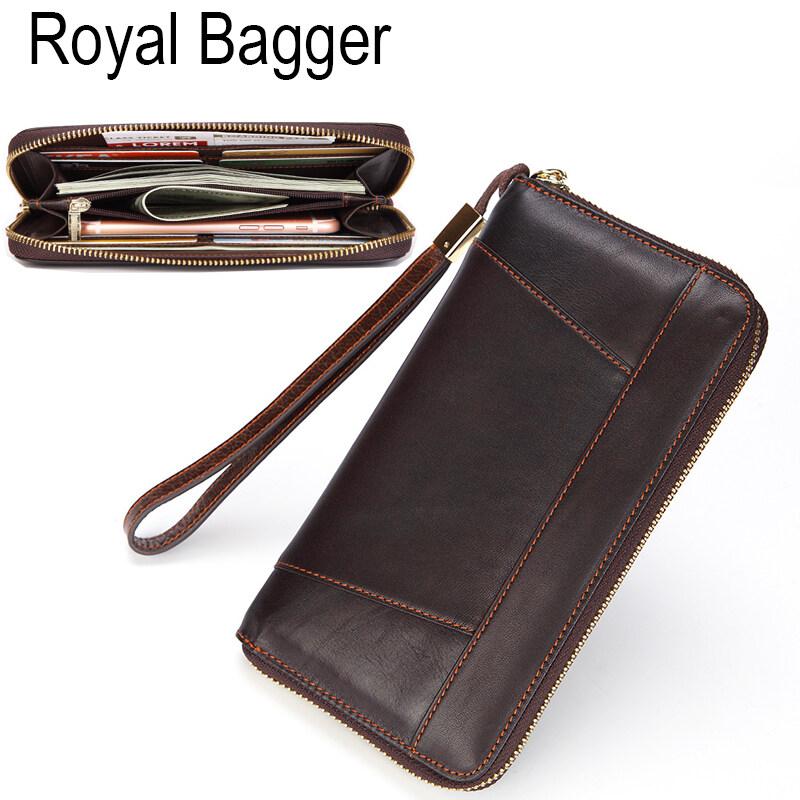 Men Long Wallets Large Capacity Multifunction Clutch Bag Brown