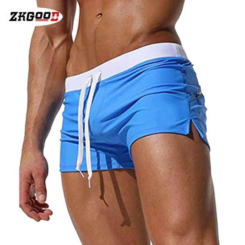 Zkgood 1 Pcs ว่ายน้ำกางเกงชุดว่ายน้ำ Breathable ซิปกระเป๋าแฟชั่นสำหรับ Beach ว่ายน้ำ By Zkgood.