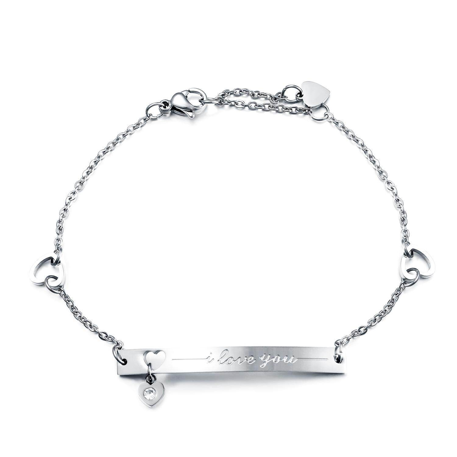 Olen Stainless Steel Engraved i love you Adjustable Bracelet with Cubic Zirconia Jewelry for Women,