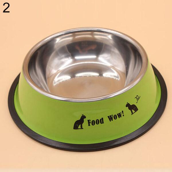 Aixuexi Thép Không Gỉ Chống Trượt Họa Tiết Cún Cưng Thức Ăn Cho Mèo Bát Uống Nước Cho Thú Cưng Ăn Bát Ăn