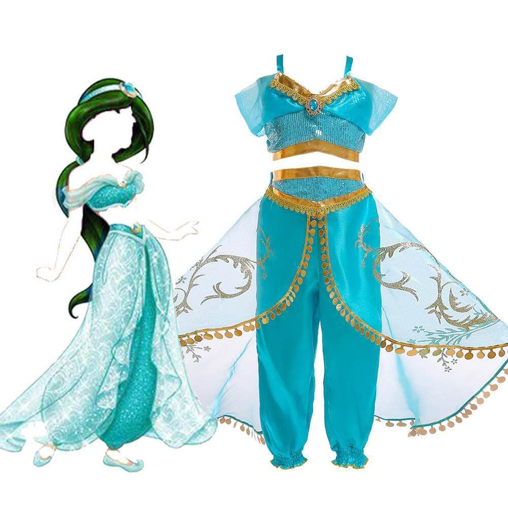 Aladdin Jasmine Princess Costume For Teen Girl Set Halloween Kid Sequin Sling Top+Lace Trouser Suit Vetement Enfant Fille