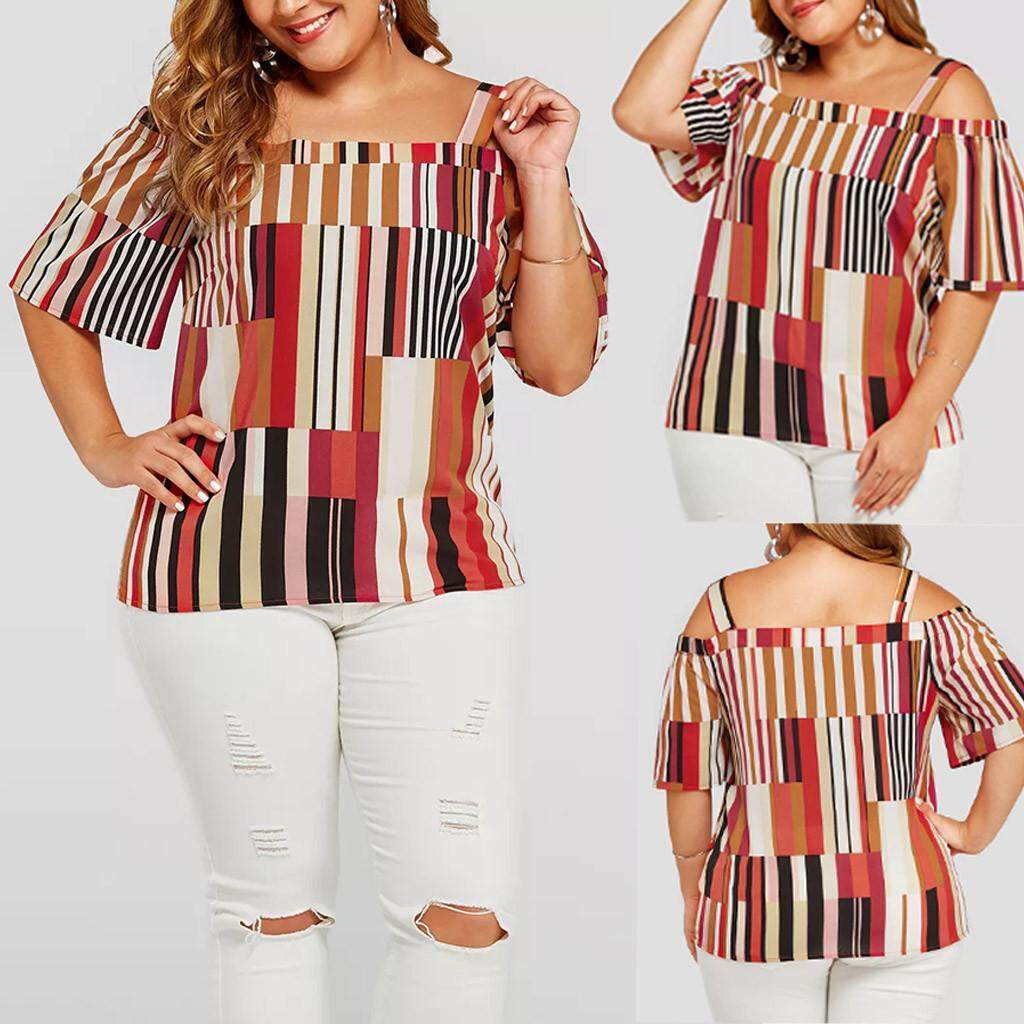 c5790330b0254 2019 Summer New Fashion Womens Plus Size Cold Shoulder Striped Printed T- shirt