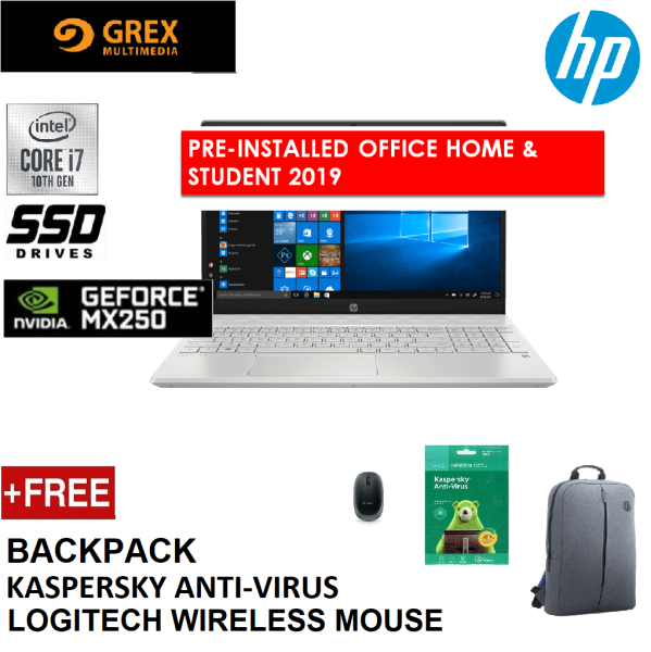 HP PAVILION 15-CS3136TX LAPTOP (I7-1065G7,4GB,512GB SSD,15.6 FHD,GEFORCE MX250 4GB,WIN10 ) FREE BACKPACK + KSPSKY ANTI-VIRUS + LOGITECH WIRELESS MOUSE + PRE-INSTALLED OFFICE H&S 2019 Malaysia