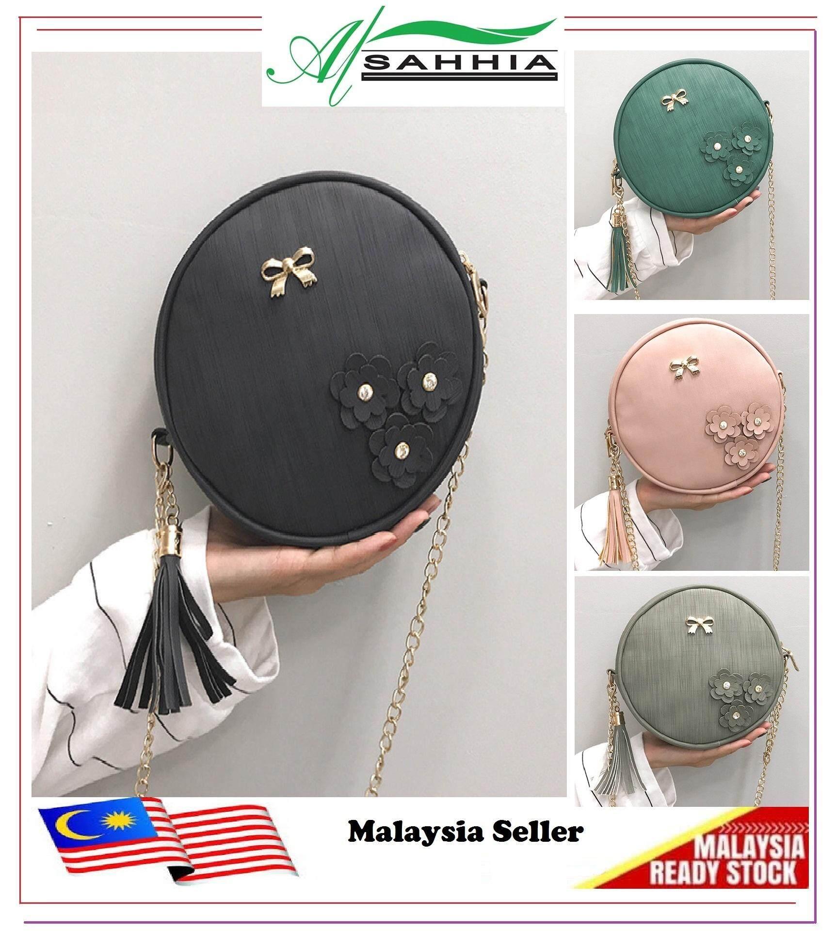 Al Sahhia Ready Stock Korean Ribbon 3 Flower Round Sling Bag Shoulder  Handbag 24b7dac4452c6