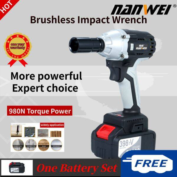 NANWEI Brushless Impact Wrench Cordless Electric Impact Wrench with 1/2in Chuck 980 Torque 4.0A B-attery with Driver Impact Sockets[Buy from West Asia for delivery]