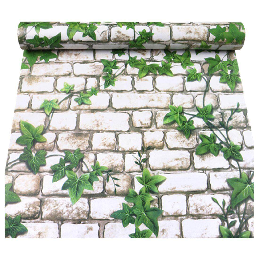 3D three-dimensional imitation brick waterproof wall stickers self-adhesive stickers wallpaper 45 * 100cm: White + green