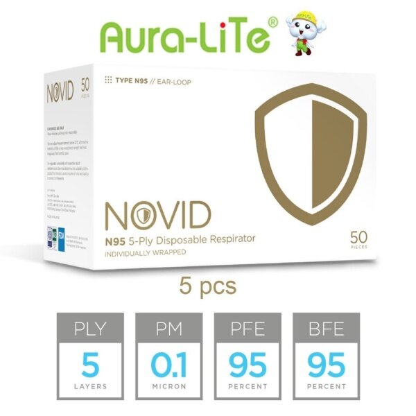 {NOVID AUTHORISED DISTRIBUTOR} Novid N95 5-PLY FFP2 Disposable Respirator Face Mask/by 5 PCS  [Individually Packed]