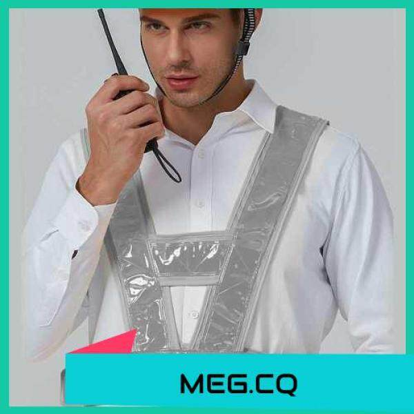 [ MEG.CQ ] SFVest High Visibility Reflective Vest Reflective Safety Strap Vests Workwear Security Working Clothes Day Night Cycling Running Traffic Warning Safety Waistcoat (Yellow & White)