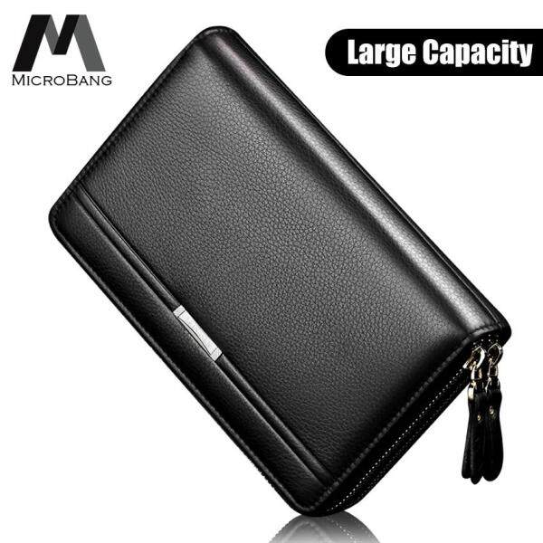 MicroBang Men Fashion Wallet PU Leather Mens Hand Bag Business Long Clutch Purse Handbag for Phone Double Zipper Bag Male Coin Money Bags Card Holder