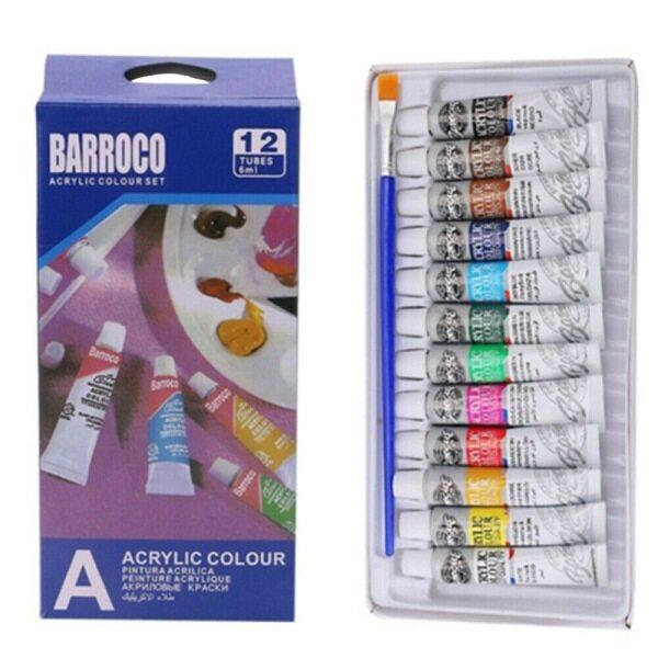 Bộ 12 màu sơn acrylic dành cho vẽ nghệ thuật, chất liệu thân thiện với môi trường, kích thước: 19*9.5*2cm - Piaolian - INTL