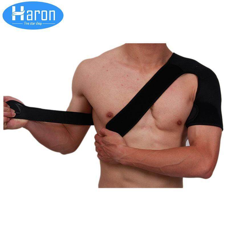 Haron Adjustable Shoulder Protection Support Guard Pain Injury Prevention Pad Strap Wrap For left hand