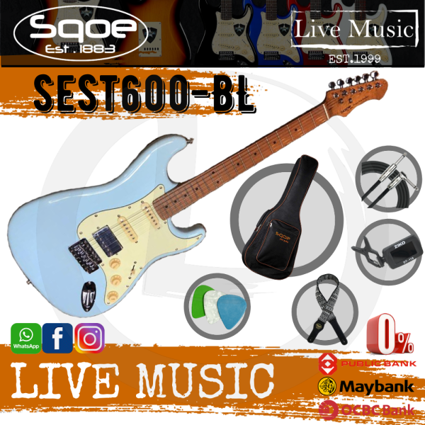 SQOE SEST600-BL Stratocaster Body HSS Electric Guitar, Roasted Maple Fretboard - Blue (SEST-600/SEST600) Malaysia