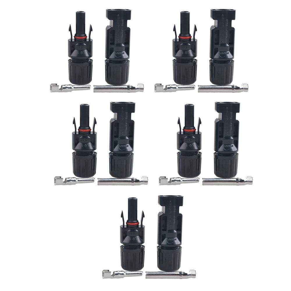 5 Pair MC4 Male/ Female Solar Panel Cable Connectors Double Seal Rings for Better Waterproof Effect IP67