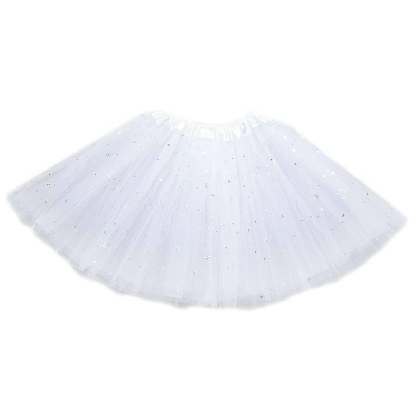 【Hàng Có Sẵn】chân Váy Xòe Xếp Ly Ba Lớp Cho Bé Gái Tập Đi, Trang Phục Múa Ba Lê Đính Kim Sa Ngôi Sao Lấp Lánh Màu Trơn Đầm Chữ A Mini Viền Satin 12 Màu Sắc 3-8T