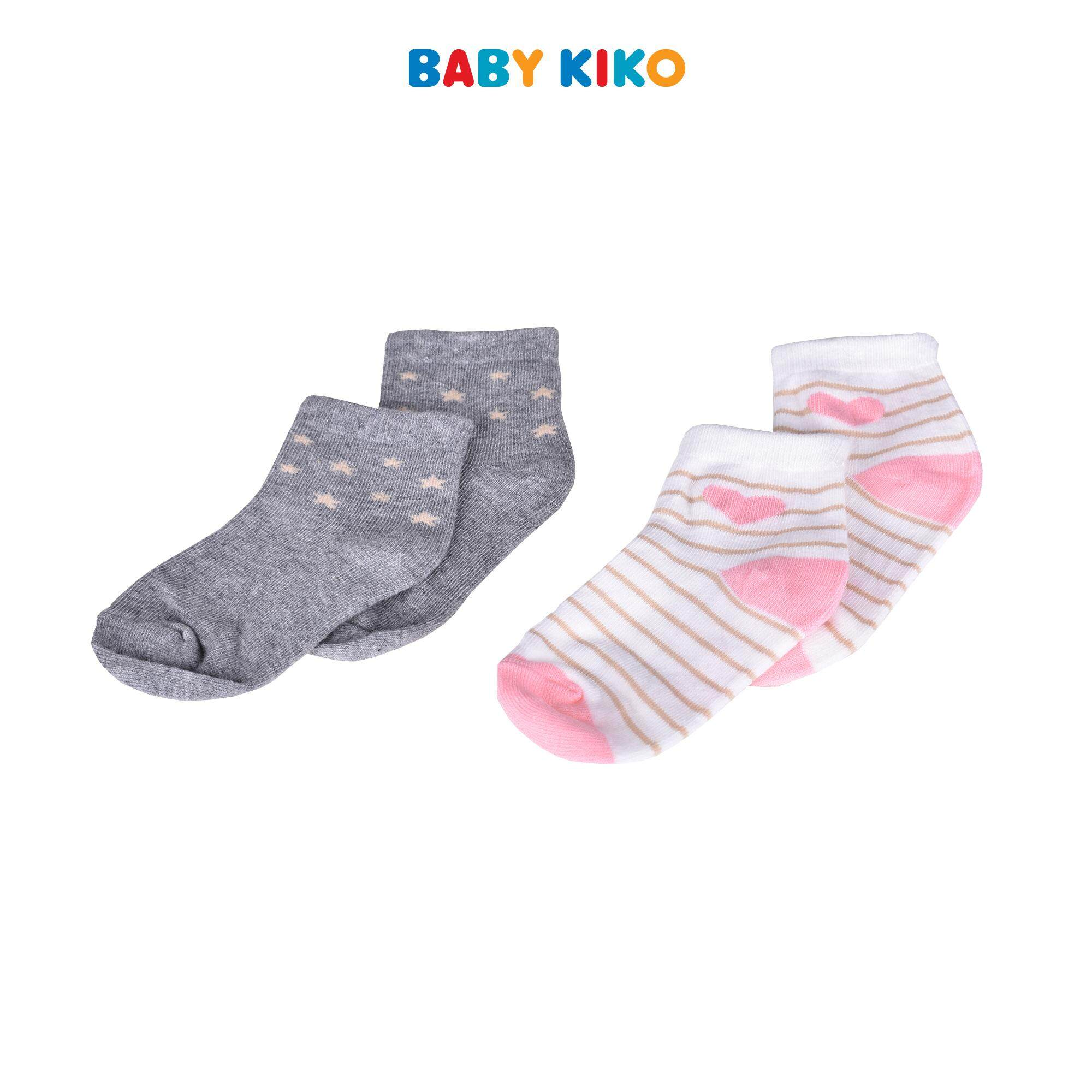 b9542d425 Baby KIKO Infant Girl Ankle Height Socks (2 Pairs) - Grey Pink 320138-