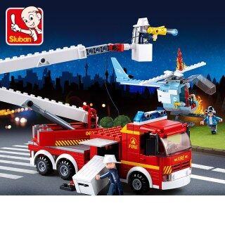 Xe Cứu Hỏa Leo Núi Anh Hùng Chiến Đấu Chữa Cháy 0627 Tự Làm SLuban, Đồ Chơi Khối Lắp Ráp Giáo Dục Cho Bé Trai thumbnail