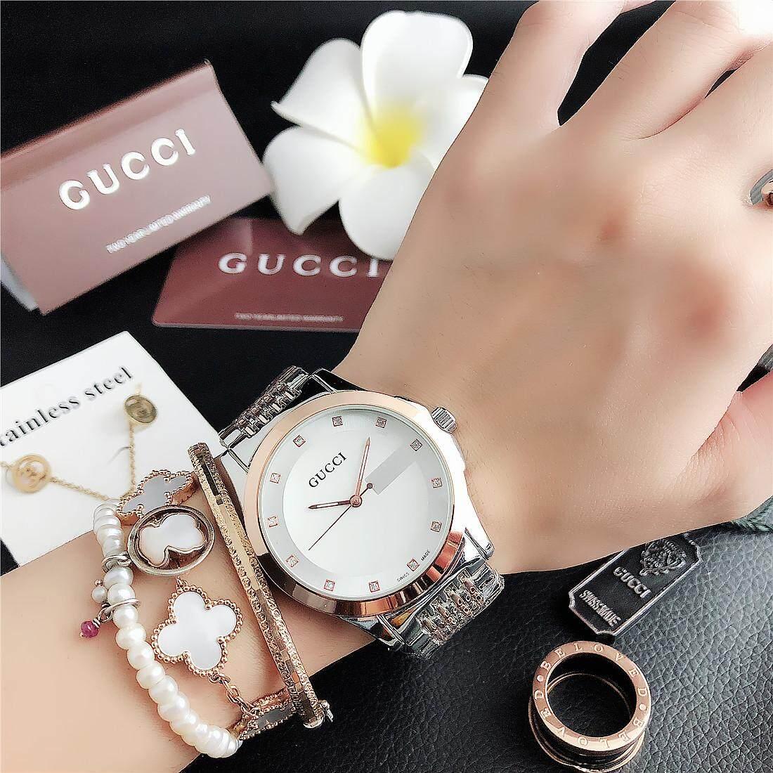Gucci_Fashion Đơn Giản Công Sở Thường Ngày Cá Tính Mới 2019 Màu Trắng Vàng Dezel Đồng Steelstrap 32 Mm Chống Nước Chuyển Động Thạch Anh Dây Dành Cho Nữ Cùng Giá Khuyến Mãi Hot