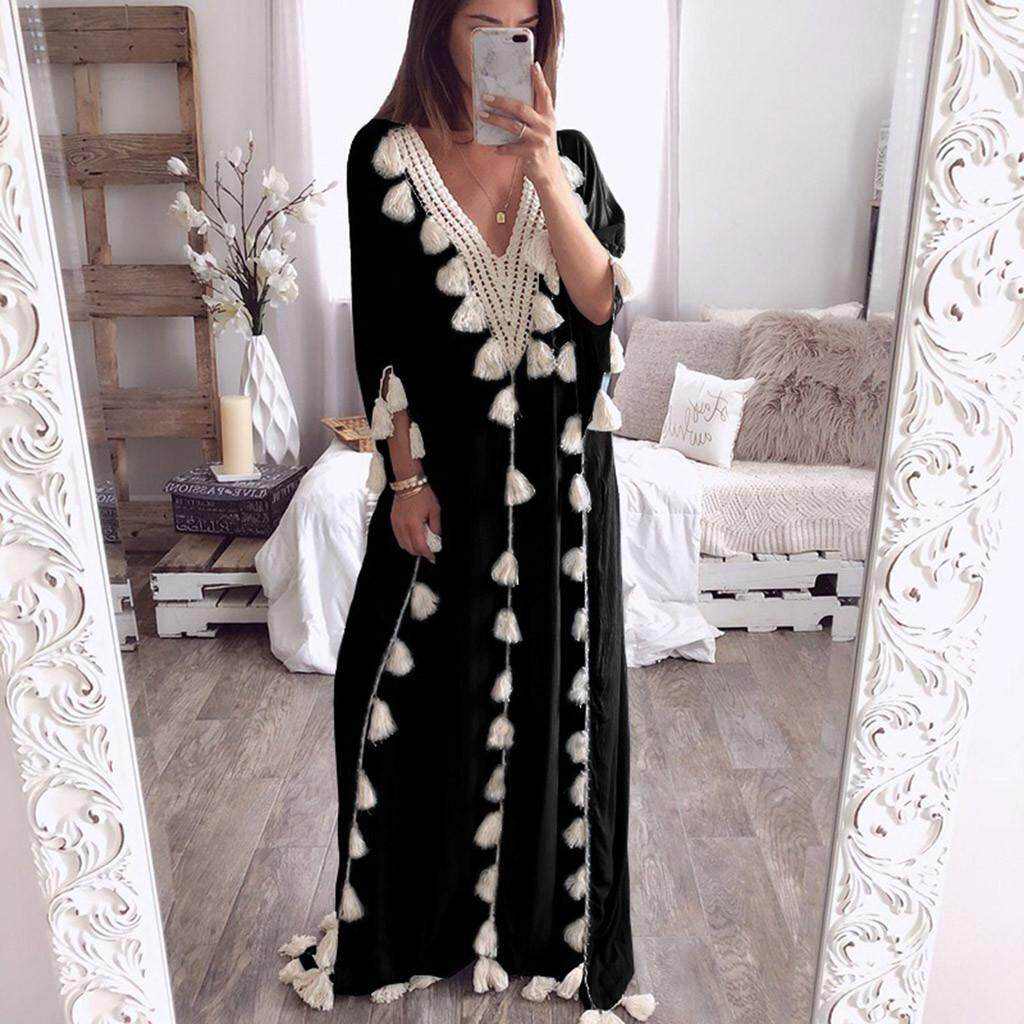 977b04e6272 GUO Women s Bohemia Long Dress Ethnic Style Tassel Beach Summer Holiday  Party Dress
