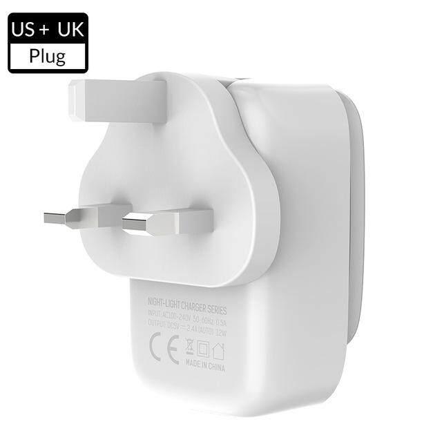 Bakeey Topk 3.4A 3 Port Auto-ID Usb Perjalanan Dinding Adaptor Pengisi Daya dengan Lampu LED Sentuh US AU Inggris Uni Eropa Plug --- Uni Eropa /US/Uk/AU