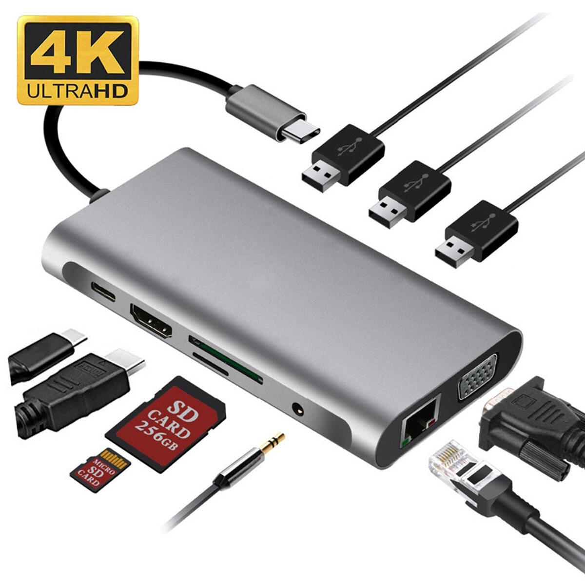Trạm Sạc Máy Tính Xách Tay USB 10 Trong 1 Type-C Di Động USB 3.0 HDMI TF LAN PD USB...