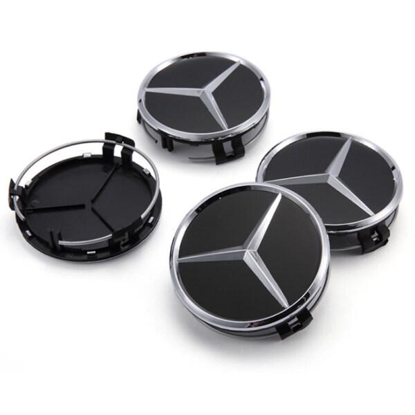 4 Cái Logo Xe Hơi 75Mm, Phụ Kiện Phong Cách Xe Hơi Miếng Dán Huy Hiệu Biểu Tượng Nắp Trục Bánh Xe Tấm Che Trung Tâm Tạo Kiểu Cho Xe Mercedes Benz W210 W211 W212 W202 Cla Amg Phụ Kiện Xe Hơi