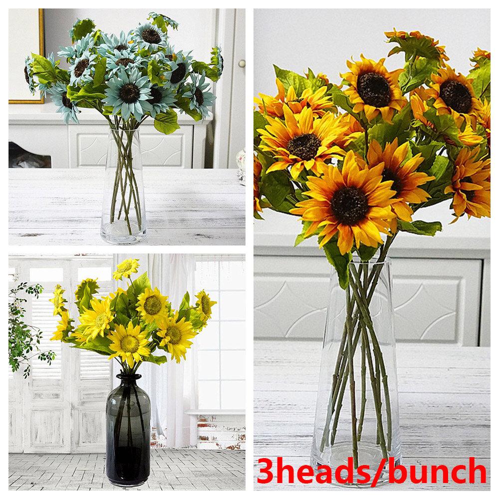 3heads Decorative Diy Craft Bright Yellow Real Touch Fake Flores Bouquet Silk Sunflower Artificial Flower Wedding Decoration Lazada Singapore