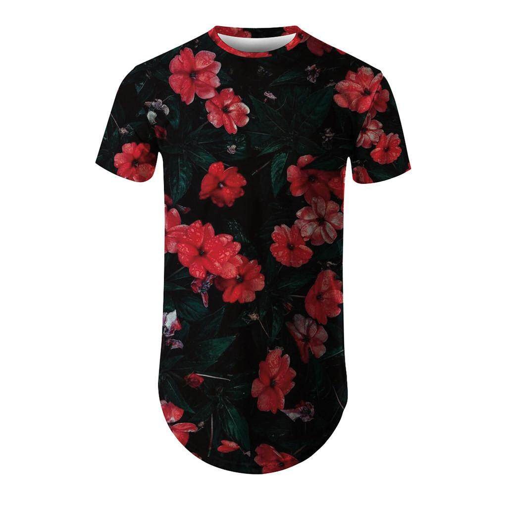 ab9e607972 cocoboy Men s New Summer T-shirt With Round Neck Short Sleeve Flower 3D  Printed Top