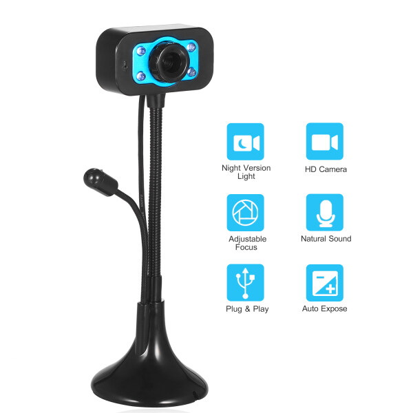 HD Webcam USB Desktop Laptop Camera Mini Plug and Play Video Calling Computer Camera with Mic Night Version LED Light Flexible Rotatable stander