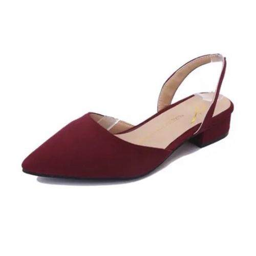 df5b296956c LUXE New pointed thick with sandals suese low flat heel shoes