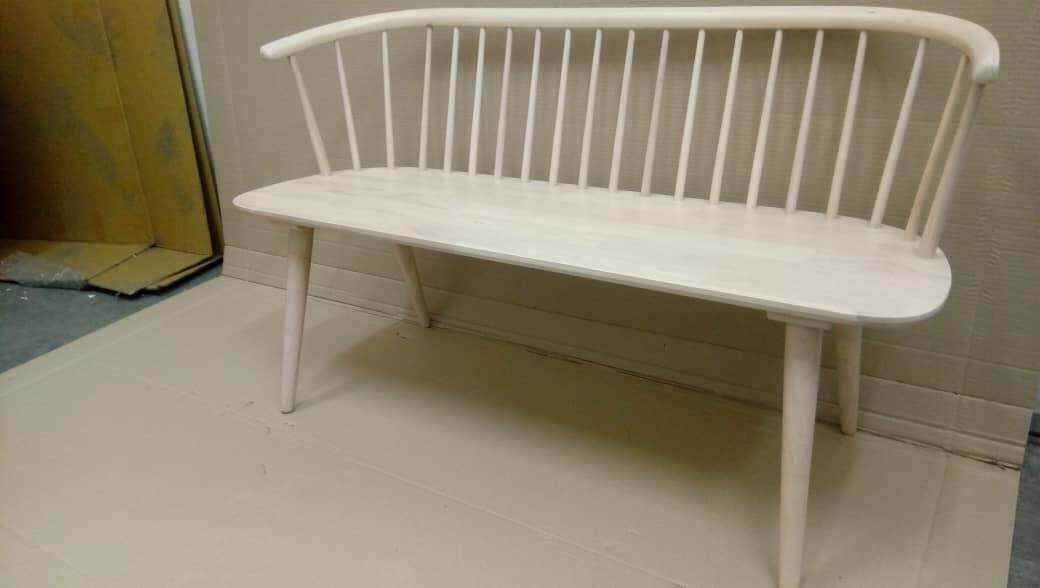 Wooden Bench Chair white wash