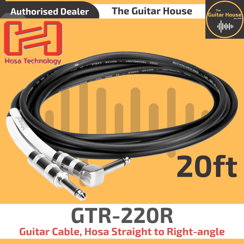 Hosa HGTR-020R Pro Guitar Cable REAN Straight to Right-angle,20 ft.