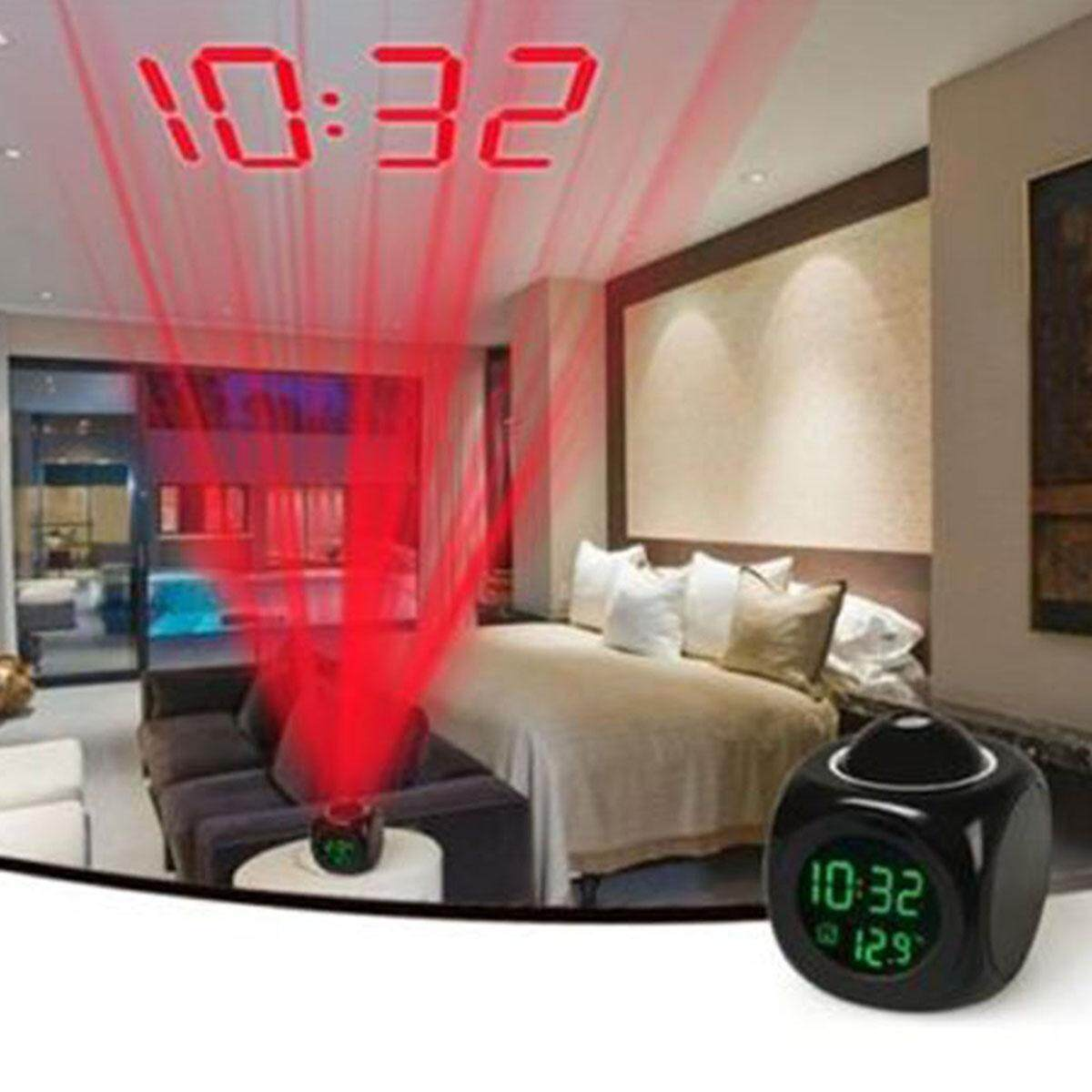Digital LCD PROJECTION Desk Alarm Clock Voice Prompt Thermometer With Snooze Function