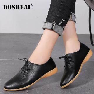 Giày Oxford Nữ DOSREAL Giày Đế Bệt Giày Da Thật Giày Loafer Cột Dây Giày Trắng Đen Thường Ngày thumbnail