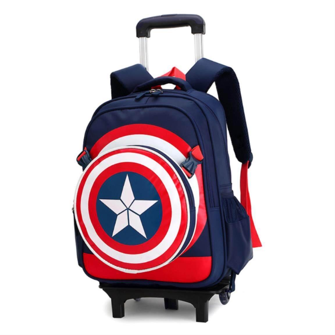 FO Primary School Trolley Bags Captain America Backpack Wheeled Children School Bag. Wheels; Schoolbags. Trolley