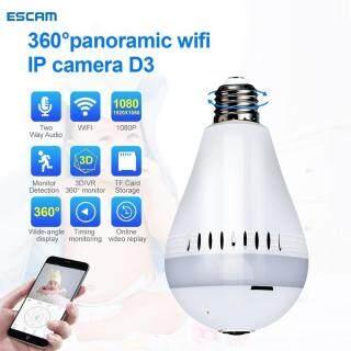 ESCAM, Camera Bóng Đèn V380 D3 2-MP 360 Camera Giám Sát An Ninh WiFi Hỗ Trợ Mũ Bảo Hiểm VR Sắp Xếp thumbnail