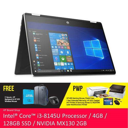 NEW HP Pavilion x360 14-dh0040TX 14 HD 2 in 1 Laptop (i3-8145U, 128GB SSD, 4GB, NVIDIA MX130 2GB, W10) - Silver [FREE] HP Backpack + F-Secure 1 Year Client Security + HP Wireless Mouse + Complimentary Premium Merchandise Gift (C-Shaped Handle, Inver Malaysia