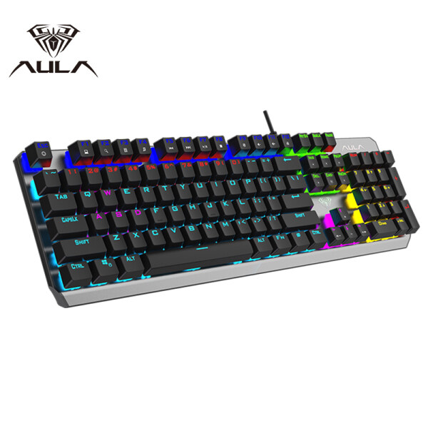 AULA F2066 Mechanical Gaming Keyboard USB Wired RGB Backlight Metal Panel Floating Keycap Professional Keyboard for E-sports Gamer Computer Laptop Game Singapore