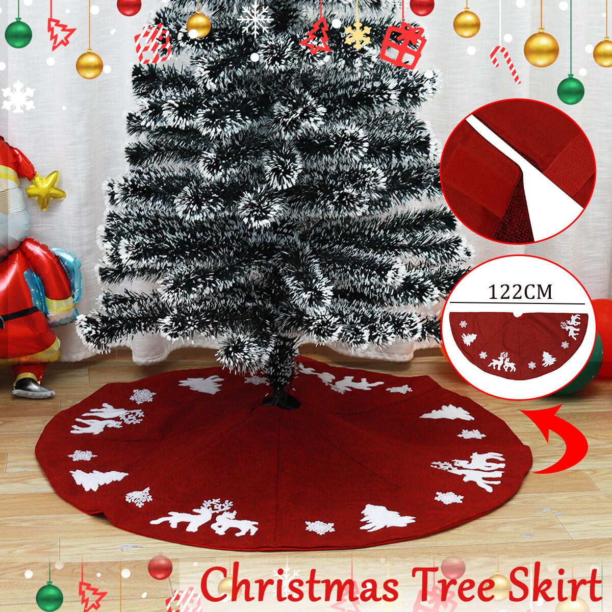 48 Red Black Plaid Christmas Tree Skirts Home Hotel Christmas Party Decoration Lazada Singapore