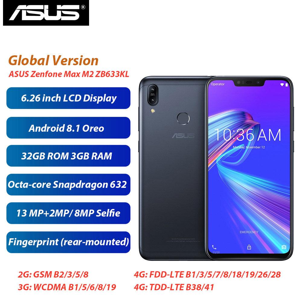 Phiên Bản Toàn Cầu ASUS Điện Thoại Zenfone Max M2 ZB633KL Điện Thoại Di Động 6.3Inch 3GB 32GB Snapdragon632 4000 MAh Sim Kép Android 8.1 4G Điện Thoại Thông Minh LTE Đang Có Giảm Giá