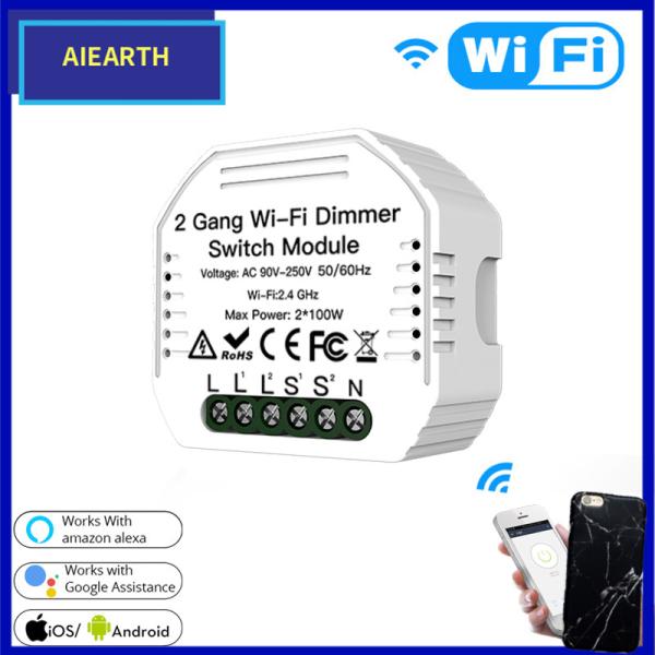 Aiearth-Công Tắc Đèn Thông Minh Wifi Chất Lượng Cao Mô-đun Ngắt Tự Làm Cuộc Sống Thông Minh/Điều Khiển Từ Xa Ứng Dụng Tuya, Làm Việc Với Alexa Echo Google Home 2 Gang 2 Way