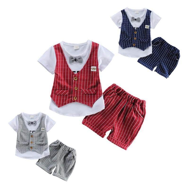 Newborn Baby Boys Gentleman T-shirt Tops+Shorts Pants Clothes Outfits Set BW