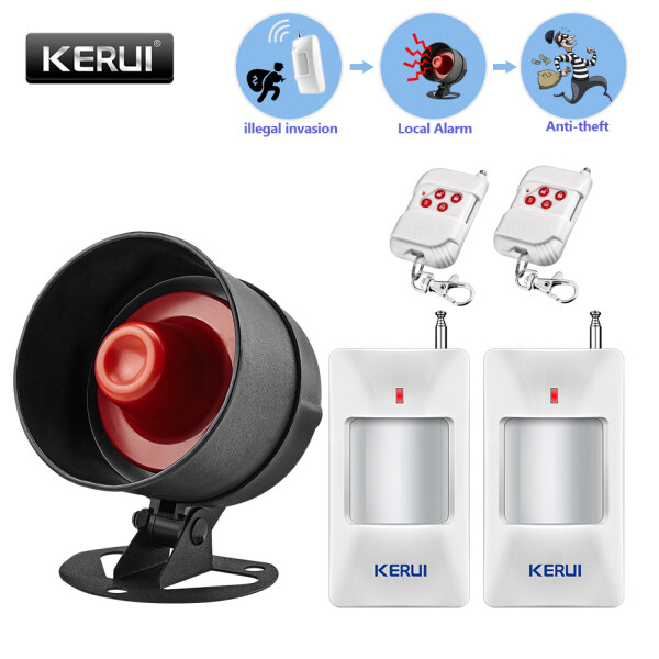 KERUI Standalone Home Office & Shop Security Alarm System Kit Wireless Loud Siren Horn with Motion Sensor, Remote Control Up To 110DB, Wireless House Hotel Garage Shop Burglar Door Securiy Alarm System